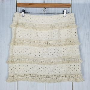 Anthro HD in Paris Tiered Fringe Linen Ivory Skirt